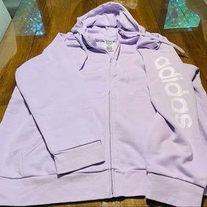 Adidas Zip-Up Hooded Sweatshirt NWT 4X Lilac White